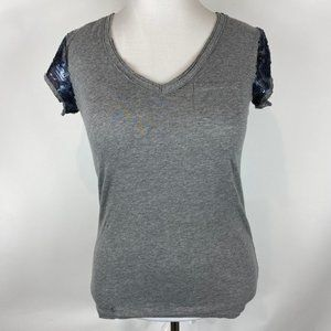 LOFT Comfy t-shirt with navy sequin sleeves